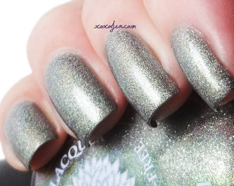 Pale Army Green Nail Polish with Holo Finish -- South Congress Bats by Black Dahlia Lacquer