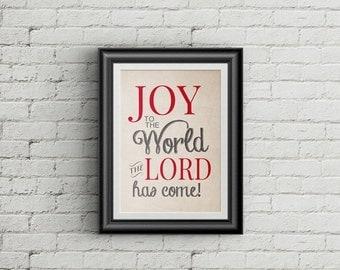 ON SALE Joy To The World Christmas Print Holiday Decor Christmas Decoration Joy To The World Wall Art Print Holiday Art
