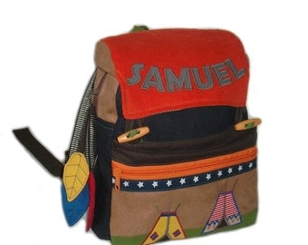 Kids backpack Indian kindergarten bag in the Indian design from jeans, corduroy and leathers, name personalized