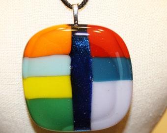 ON SALE - Handmade Fused Glass Necklace Pendant - Fused Glass Necklace - Glass Pendant Dichroic Glass