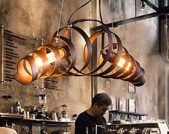 Free shopping-Retro Bar Iron Lamp Modern Minimalist Industrial Style Chandelier