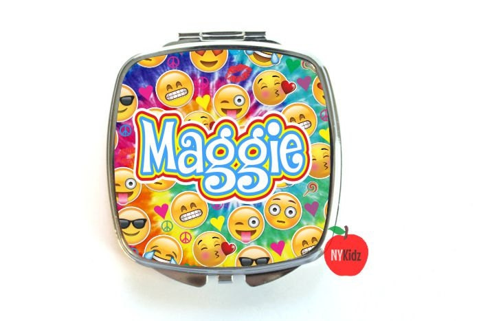 tie dye emoji compact mirror      personalized compact mirror