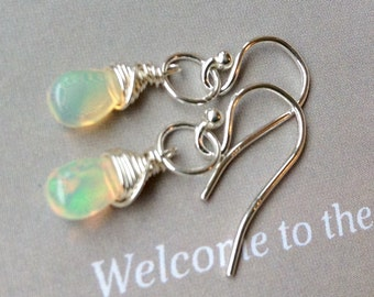 Petite AAA Ethiopian Opal Earrings - October birthstone,natural AAA Opal briolette, Welo opal earrings, sterling silver, gold filled