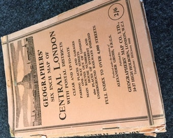 Vintage six inch Geographer's map of Central London