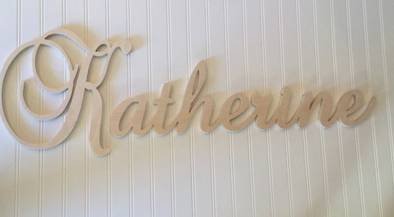 Wood Name Wall Decor : Unfinished wood wall decor wooden name family elegant