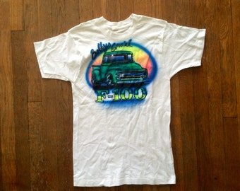 Vintage 1970s FORD F-100 Truck White Airbrushed T-SHIRT Size Small Hipster Motorcycle Biker