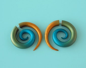 "Spiral Faux Gauge Earrings - ""Cleopatra"" colors"