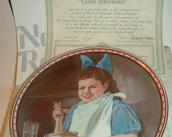 1987 Good Intentions Norman Rockwell Mind of Her Own Plate w/ COA