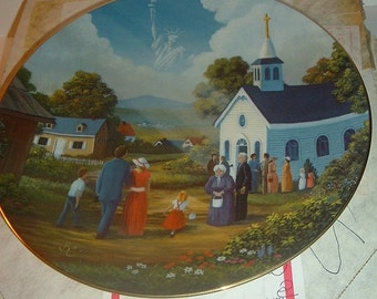 1981 God Shed His Grace America The Beautiful Plate w/ Box