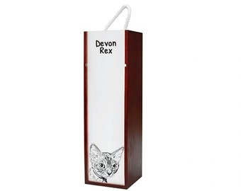 Devon rex - Wine box with an image of a cat.