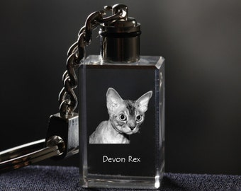 Devon rex, Cat Crystal Keyring, Keychain, High Quality, Exceptional Gift