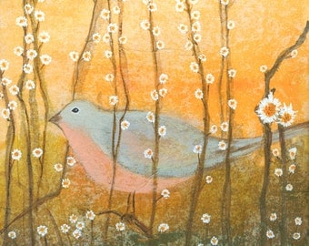 Bird With Flowers 2.  Giclee Print on Paper.