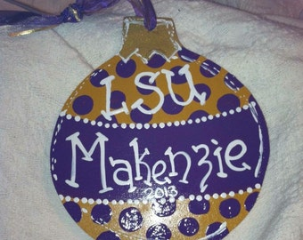 Hand-painted LSU Christmas Ball Ornament