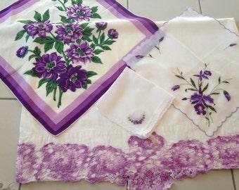 Vintage Purple,Lilac,Lavender,Hand Crocheted pillowcase With Co-ordinating Vintage Ladies Hankies , Bedroom, Chic,