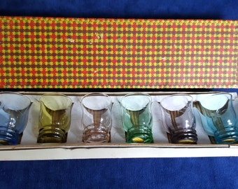 Set of 6 vintage small boxed colorful etched glasses