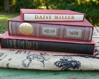 Vintage books, vintage book decor, heritage press book club, old book set, hardback vintage books, book decoration, stage props.
