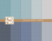 "Kraft Digital Paper: ""OCEAN KRAFT"" in Beach Shades of Blue, Green, Navy, Aqua, and White, Kraft Paper, Rustic Summer Background"
