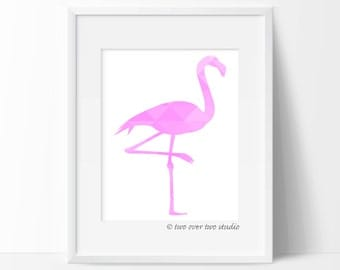 "Flamingo Print: ""GEOMETRIC FLAMINGO"" Printable Art in Pink or Custom Color for Baby Nursery, Kids Room or Beach Wall Decor"