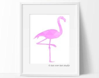 Flamingo Print / Pink Geometric Flamingo / Pink Flamingo Poster / Flamingo Wall Art / Flamingo Printable / Flamingo Nursery