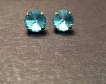 SALE! Turquoise Swarovski Crystal Bronze Studs