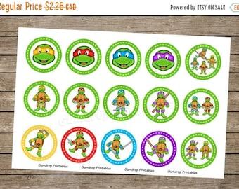 30%OFF Buy 3 Get 1 Free Ninja Turtles 1 Inch Circles Bottlecap Images ~ Instant Download ~ TMNT Birthday Printable Image Sheet Sh_13