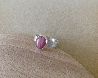 Pink Rhodochrosite Sterling and Fine silver leaf band ring