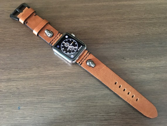 Apple Watch Strap, Skull, Apple Watch Band, Apple Watch 42mm, Leather Watch Band, Brown, iwatch 42mm, Apple Watch 38mm, FREE SHIPPING