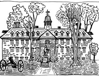 Wren Chapel | William and Mary | William & Mary | Williamsburg | VA | Mini Poster  | Doodle | 11x14