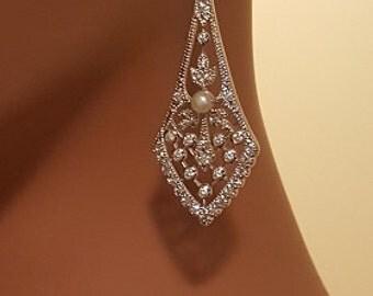 Sterling Silver Bridal Earrings / wedding jewelry / bridal jewelry / special events earrings