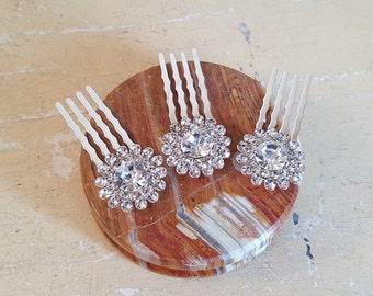 Austrian Crystal Mini Hair combs set of 3 rhodium plated