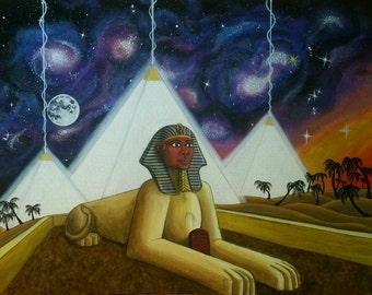 """Pyramid Power Egyptian Acrylic Painting Sphinx Abstract Surreal 24"""" x 36"""""""