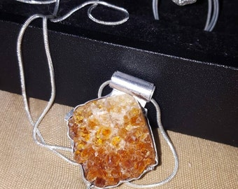Citrine geode necklace CLEARANCE was 70.00