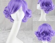 Pastel Wig Fashion Short Purple Wave Wig Women Wig Sexy Cosplay Wigs Middle Split Wigs Anime Wig Lolita Wigs Long Bang Lady's wigs Wig