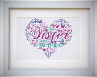 Sister Word Art Etsy