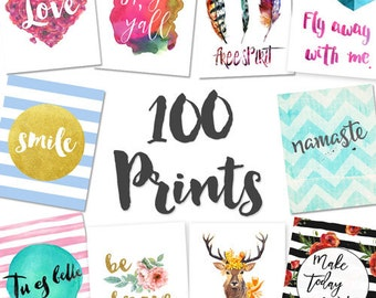 100 PRINTABLES SET (8x10s) Dorm Decor, Printable Art, Bathroom Decor, Apartment Decor, Art Prints, Art Bundle, Wall Art, Dorm Wall Art
