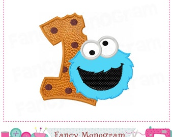 Cookie Monster  Number 1 applique,Birthday Number 1 applique,1,My 1st birthday,Cookie Monster design,Cookie Monster applique。