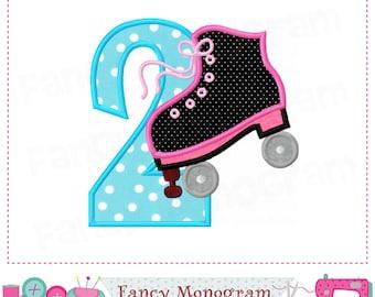 Roller Skate Number 2 applique,Roller Skate,Birthday Number 2,My 2nd birthday,2,Sports applique,2,Roller Skate,Roller Skate applique.