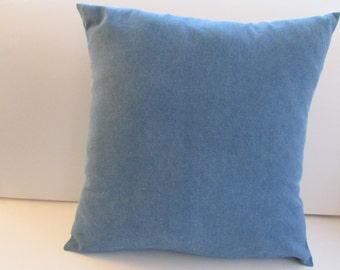 Light IndigoWashed Denim Pillow Cover,  Blue Denim Pillow Cover