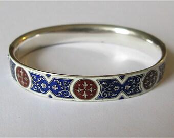 Antique Imperial Russian Import Silver Enamel Bracelet c.1872-1898