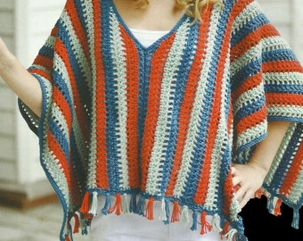 Crochet Poncho Boho Beach Crochet PDF Pattern Instant Download