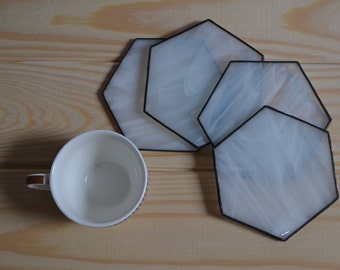 Drink Coasters Minimalist Stained Glass Hexagon Coffee Table Decor Kitchen White Honeycomb Modern Set Housewarming Gift for Couple Home Idea