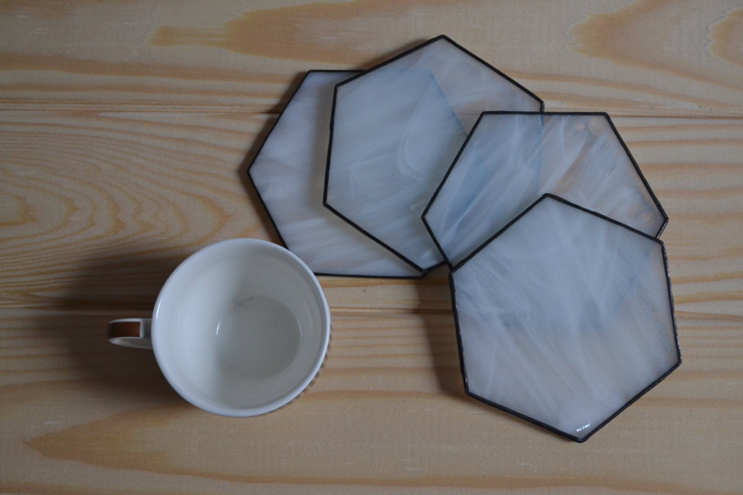 drink coasters minimalist stained glass hexagon coffee table - 🔎zoom