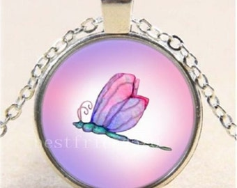 Pink Dragonfly Cabochon Glass Tibet Silver Chain Pendant Necklace