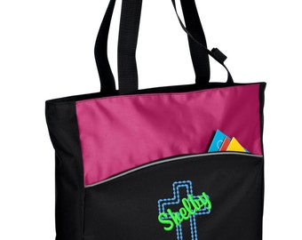 Personalized Tote Bag Embroidered Tote Bag Custom Tote Bag - Sports - Cross - B1510