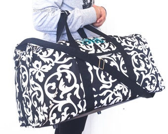 """2 Colors! 22"""" Duffle DUFFLE Bag, Overnight Bag, Carry On, GYM bag, Damask Luggage, Monogrammed Gifts, Women Duffle Bag, Black and Pink"""