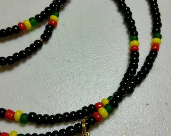 Black Rasta Red Yellow Green Gold Peace Waist Beads Belly Beads Belly Chain African Waist Beads Body Jewelry