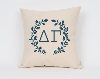 Delta Gamma Wreath Pillow // Choose Your Ink Color // Greek Letter Pillows // Sorority Pillow // Big Little Gift // Sorority Letters
