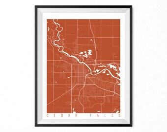 CEDAR FALLS Map Art Print / Cedar Falls City Poster / Cedar Falls Wall Art / Iowa/ Gift / Iowa home decor