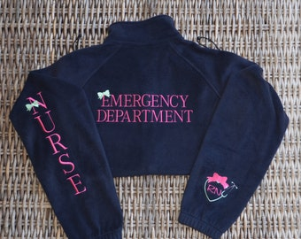 Fleece Jacket, Nurse, Emergency Department, Front, Sleeve, Cuff, Back & Left Chest,Monogram yours today!