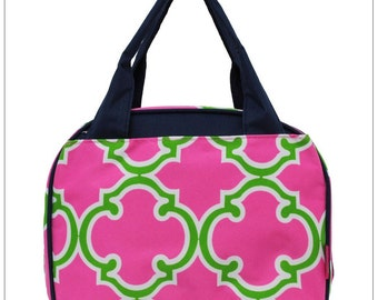 Pink/Green Clover,  Lunch Box, Lunch Tote, Thermal Insulated, Monogramed